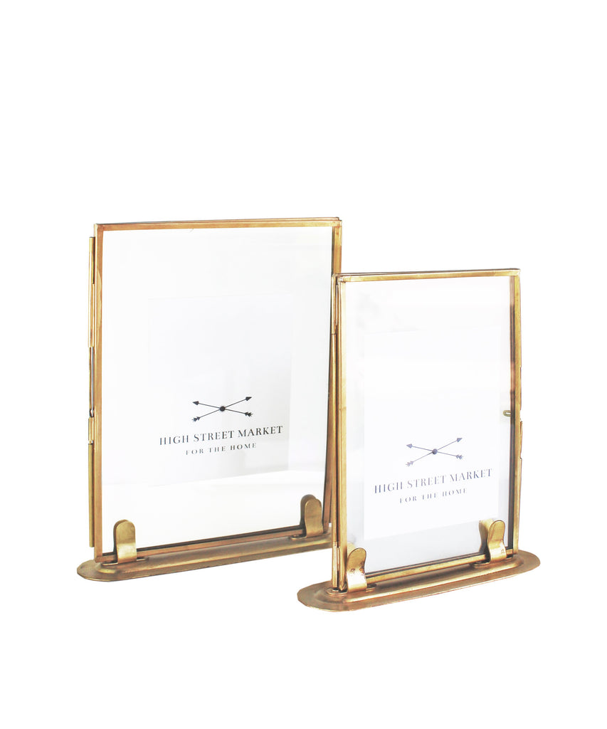 Double Sided Glass Picture Frame, Brass (2 sizes available) – High ...