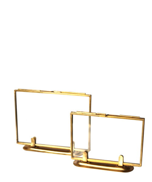Double Sided Glass Picture Frame Brass 2 Sizes Available High