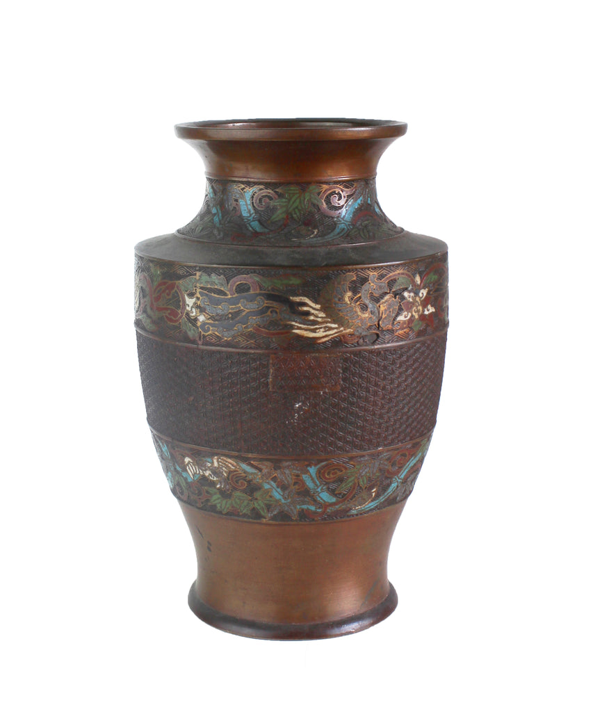 Antique Japanese Cloisonne Bronze Vase