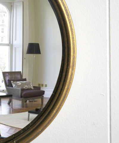 Round Convex Mirror, Antique Gold