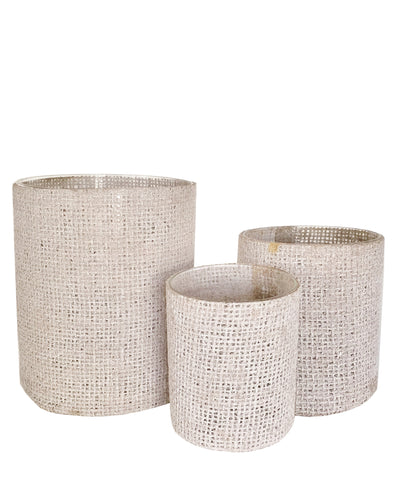 Burlap Wrapped Glass Vase, White Wash