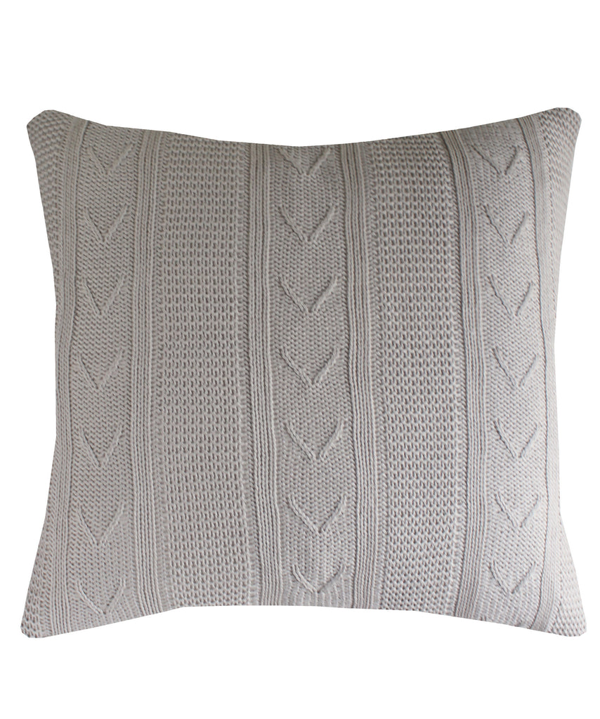 Large Cable Knit Throw Pillow, Stone