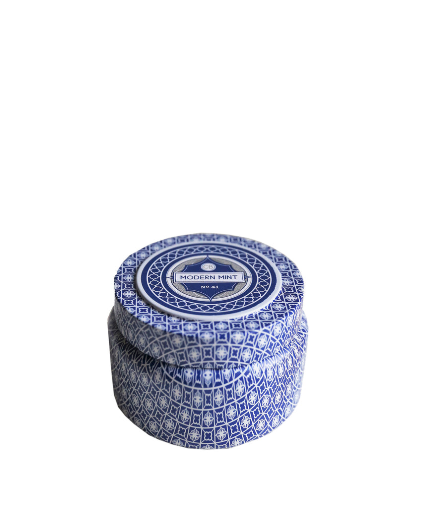 """Modern Mint"" Signature Printed Travel Tin Candle"