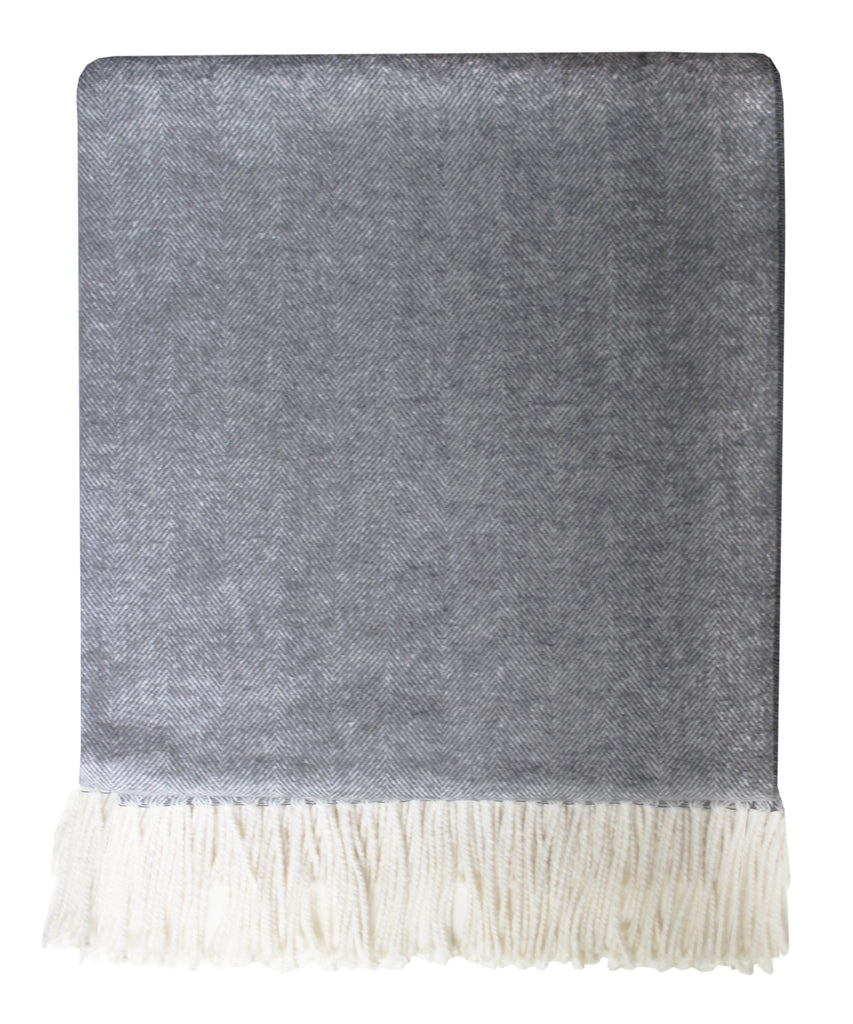 Italian Herringbone Throw Blanket, Charcoal