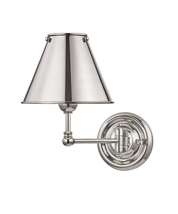 Classic No. 1 Single Light Wall Sconce, Polished Nickel