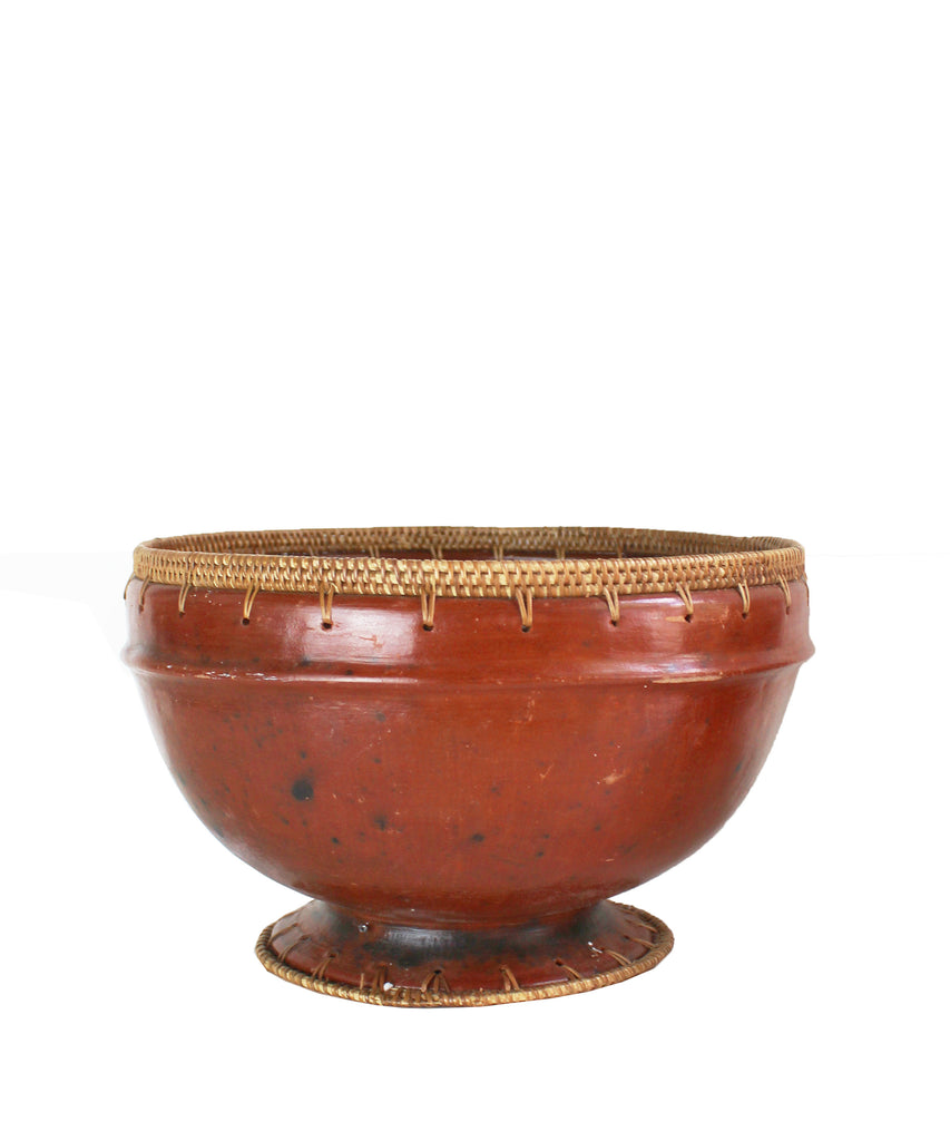 Vintage African Pottery with Woven Base & Rim