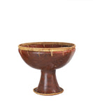 Vintage African Pottery Pedestal with Woven Base & Rim