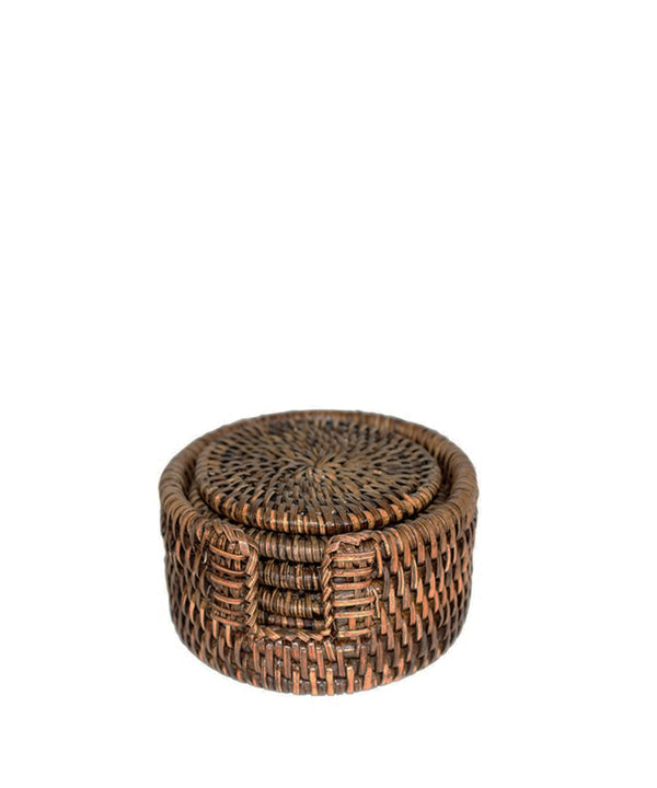 Set of 6 Woven Rattan Coasters in Antique Brown