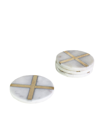 Set of 4 Cross Marble & Brass Coasters