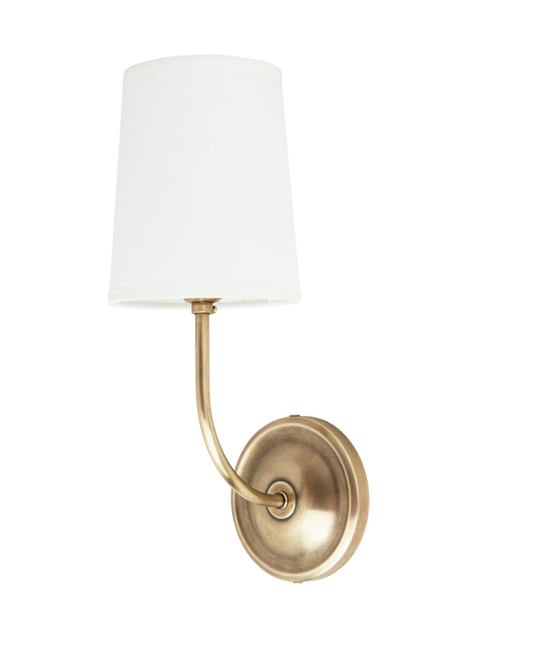 Spencer Wall Sconce with Linen Shade, Antique Brass