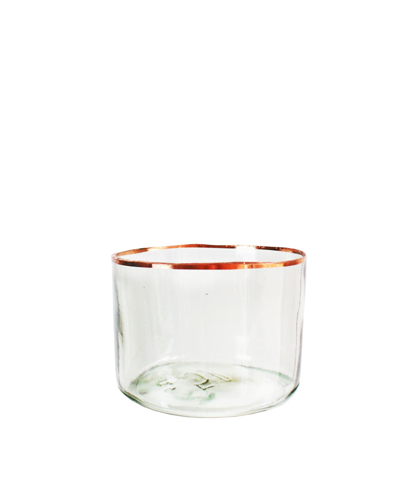 Clear Glass Demijohn Bowls with Copper Rim, Medium
