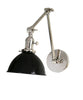 Jefferson Double Arm Wall Sconce with Black Enamel Shade, Polished Nickel
