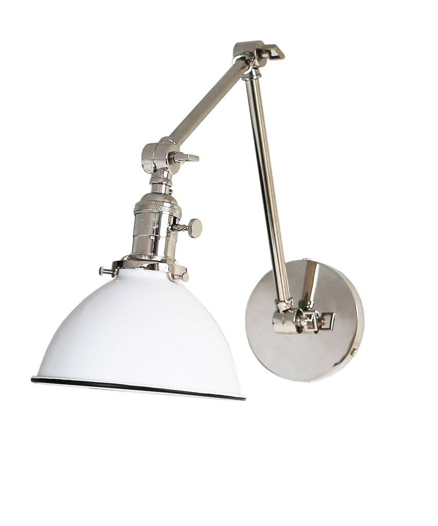 Jefferson Double Arm Wall Sconce with White Enamel Shade ...