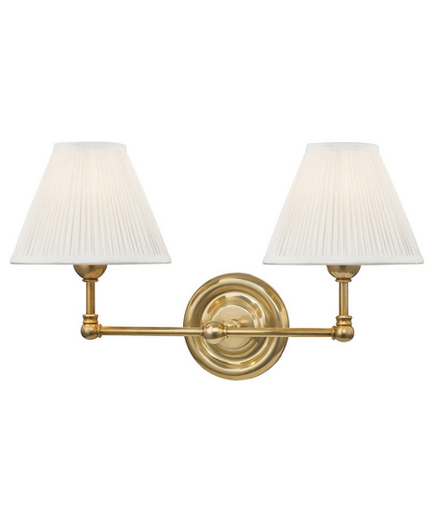 Classic No. 1 Double Light Wall Sconce, Aged Brass