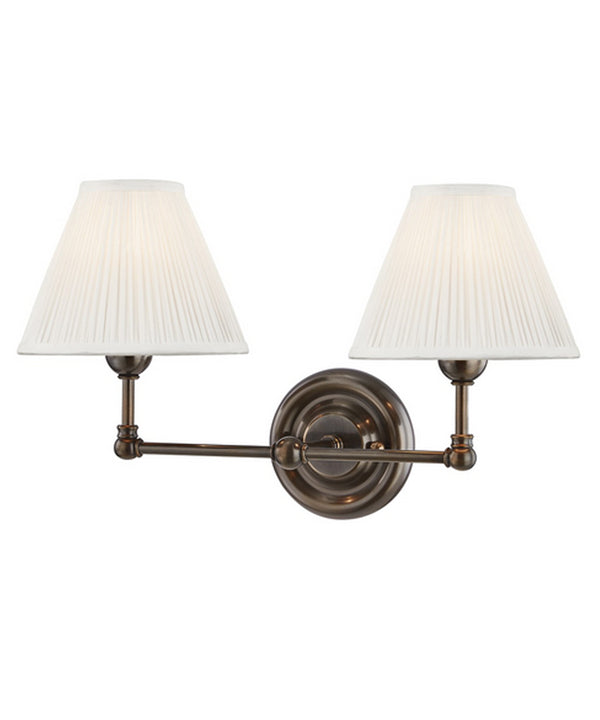 Classic No. 1 Double Light Wall Sconce, Bronze