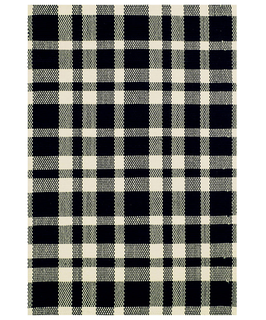 Tattersall Black Plaid Cotton Rug