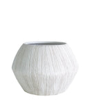 Etched Faceted Pot, White