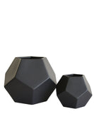 Black Faceted Vases