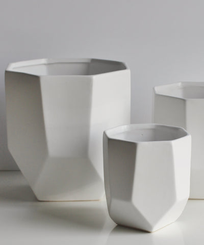White Porcelain Faceted Pot