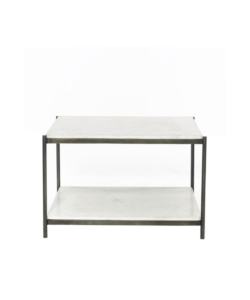 Finn Marble Top Coffee Table, Iron Frame