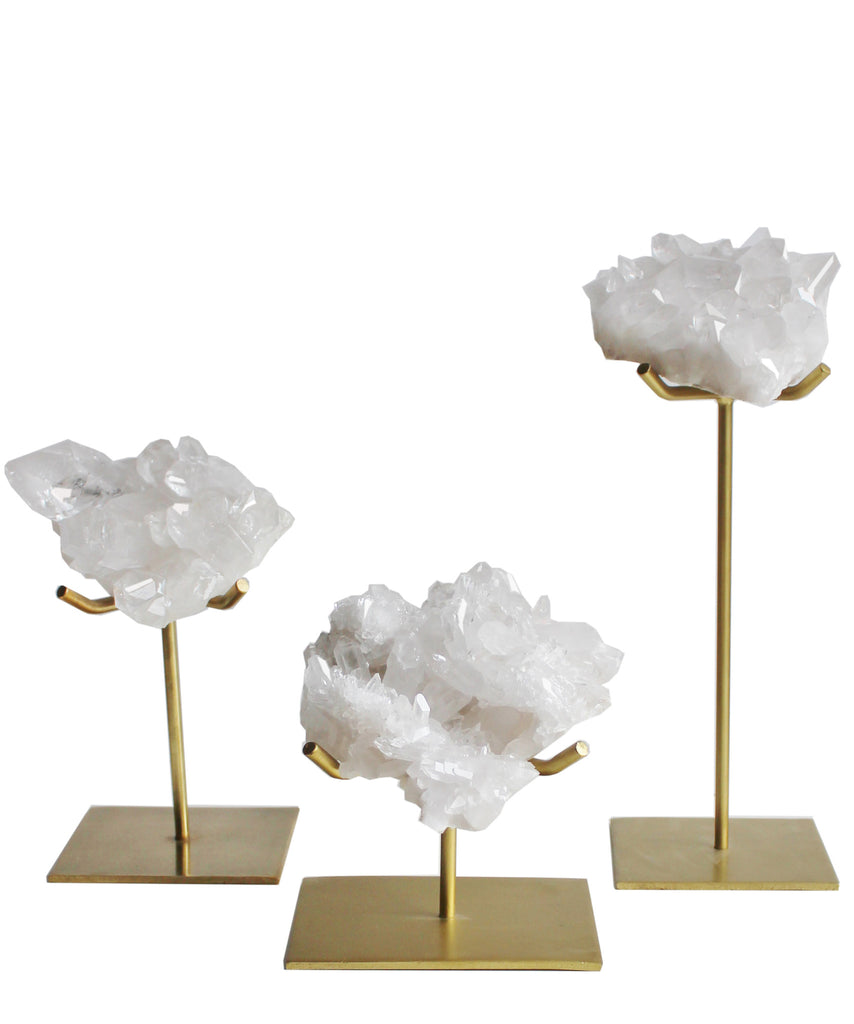 Natural Crystal Cluster on Gold Stand (3 sizes available)