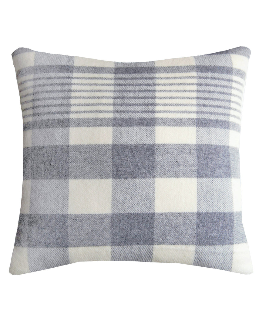 Faribault Plaid Wool Throw Pillow in Grey, Faribault Woolen Mill Co.