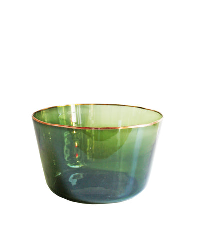 Green Glass Demijohn Bowls with Copper Rim, Large