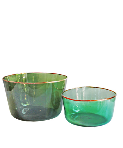 Green Glass Demijohn Bowls with Copper Rim, Medium
