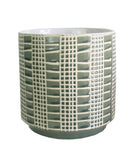 Grid Ceramic Planter, Sage