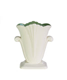 Vintage Ivory Ceramic Vase with Green Interior, Redwing Pottery