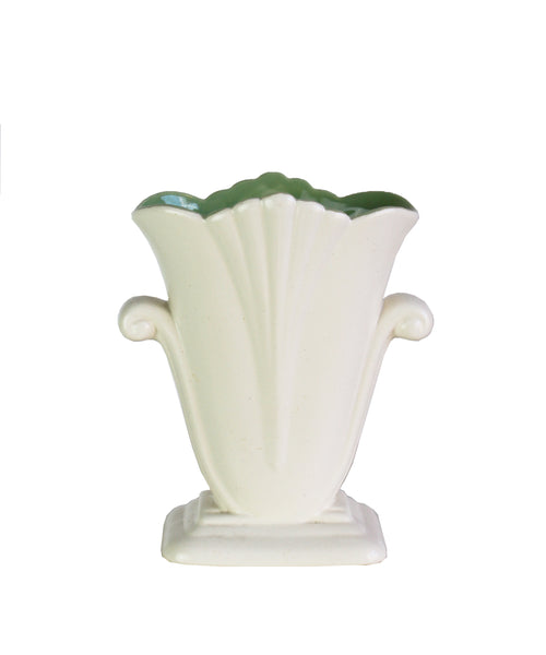 Vintage Ivory Ceramic Vase With Green Interior Redwing Pottery