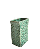 Vintage Large Emerald Lattice Ceramic Vase