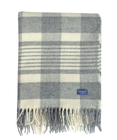 Plaid Throw Blanket, Gray/Natural, Faribault Woolen Mill Co.