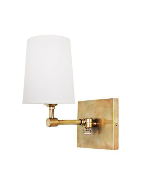 Hamilton Pivoting Wall Sconce with Linen Shade, Antique Brass