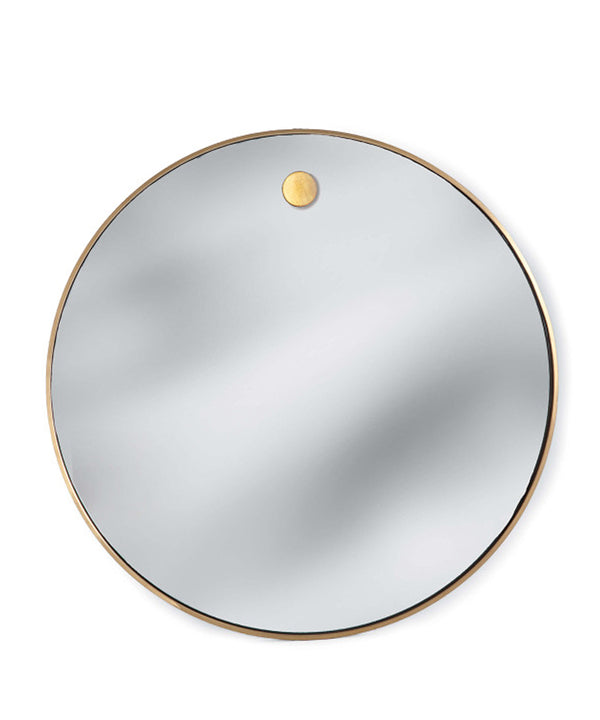 Hanging Circular Mirror, Natural Brass