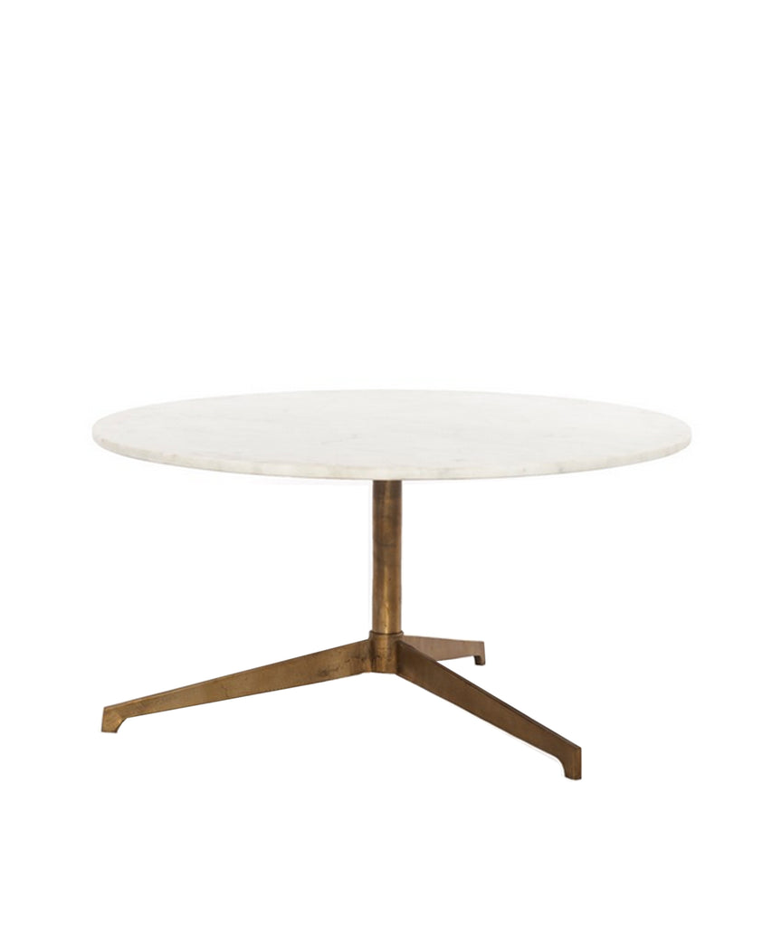 Helena Marble Top Coffee Table, Brass