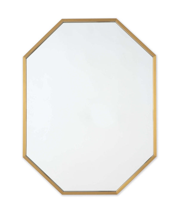 Long Hex Mirror, Brass