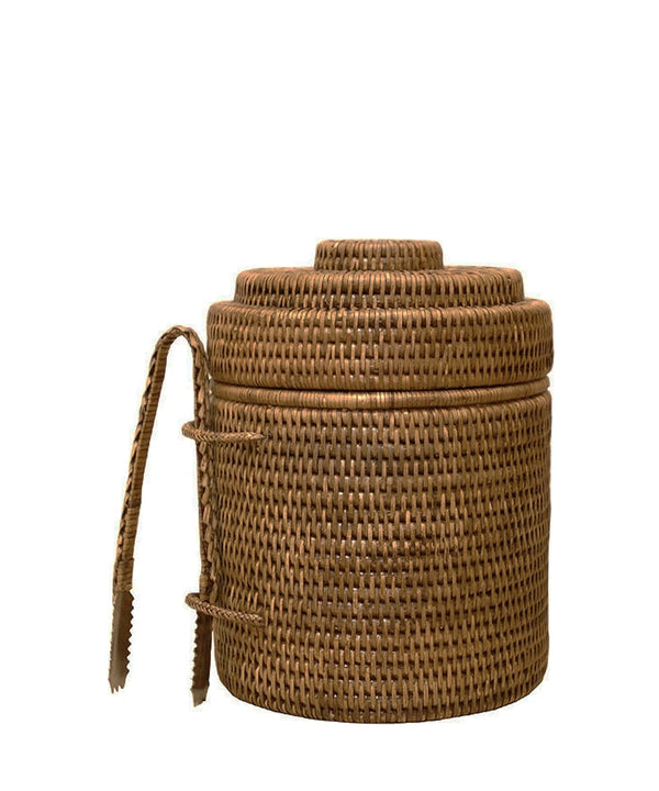 Woven Rattan Ice Bucket with Tongs, Antique Brown