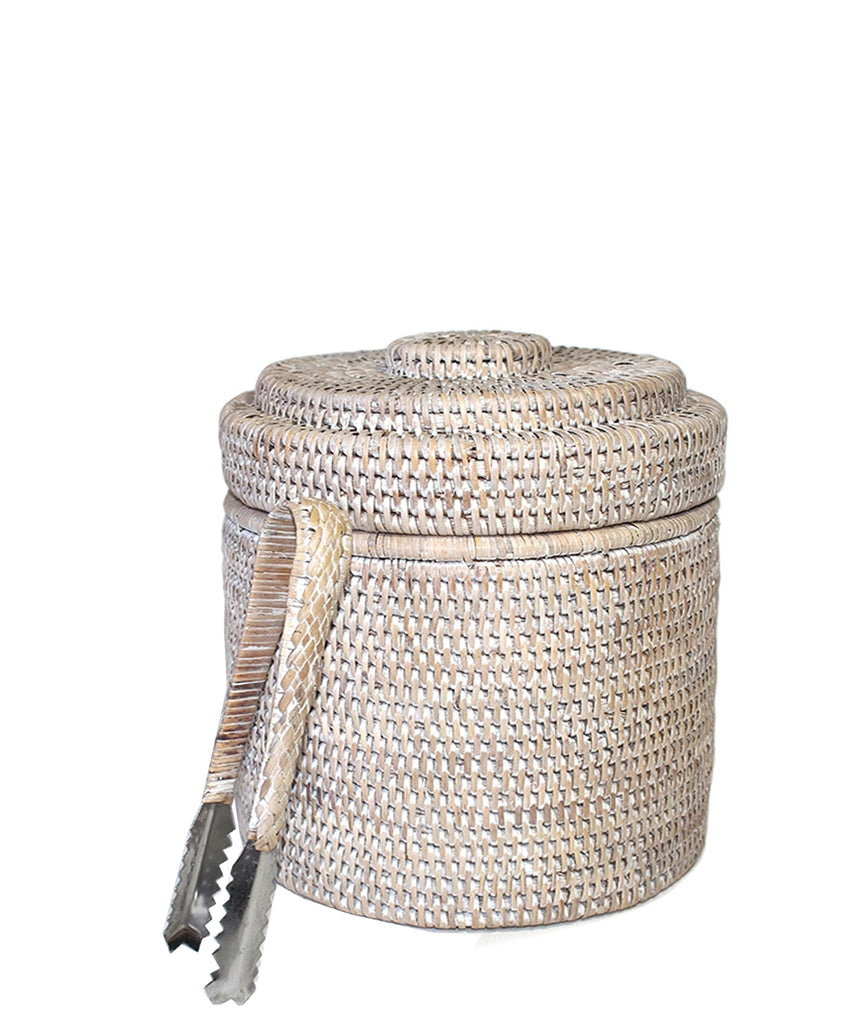 Woven Rattan Ice Bucket with Tongs, White Wash