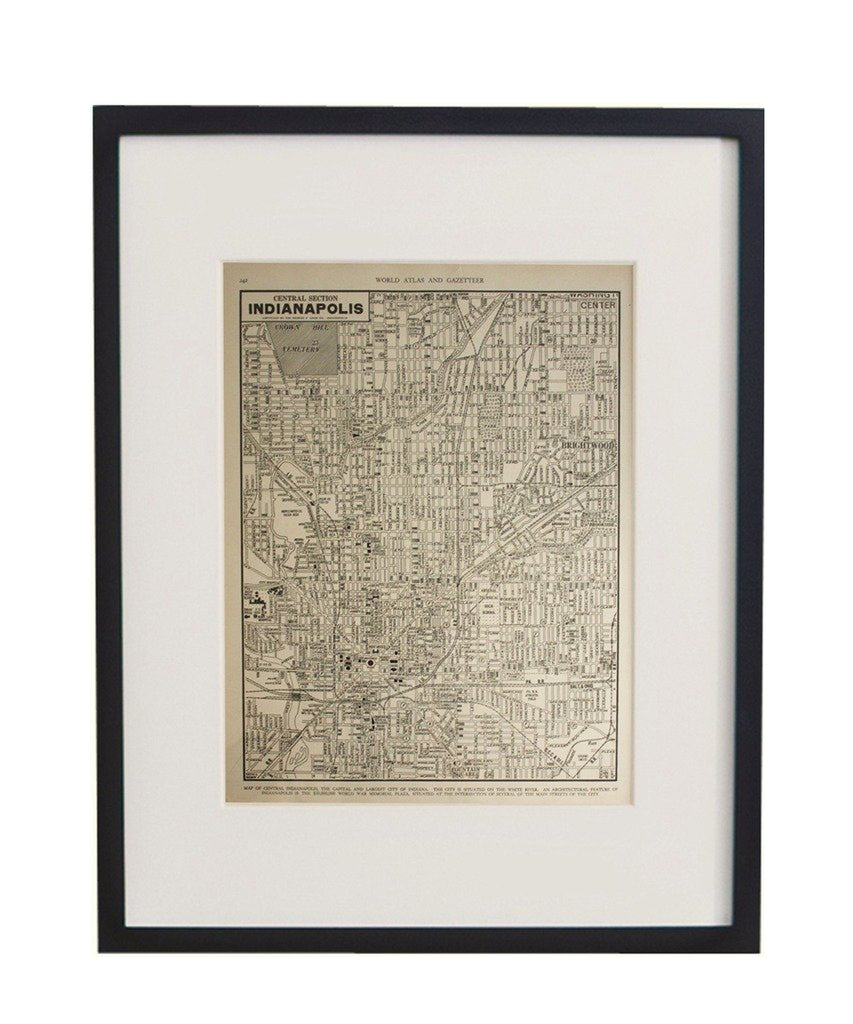 Vintage Framed City Map, Indianapolis