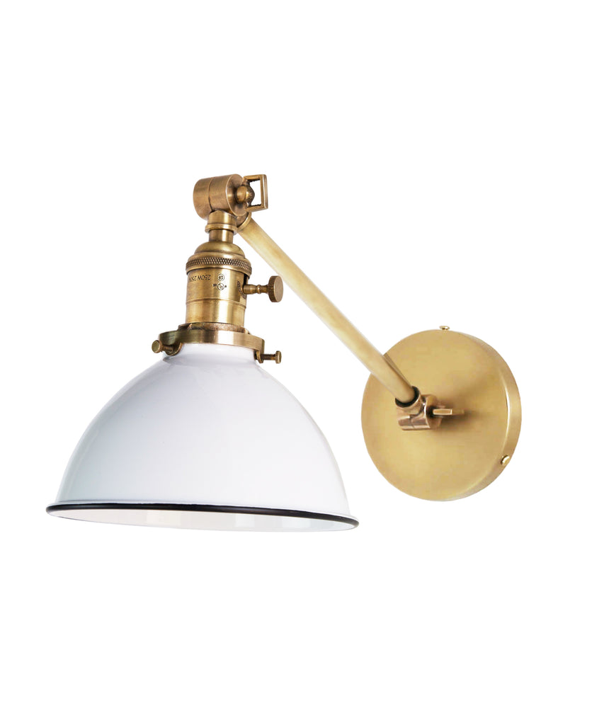long wall sconce lighting. Jefferson Single Long Arm Wall Sconce With White Enamel Shade, Antique Brass Lighting