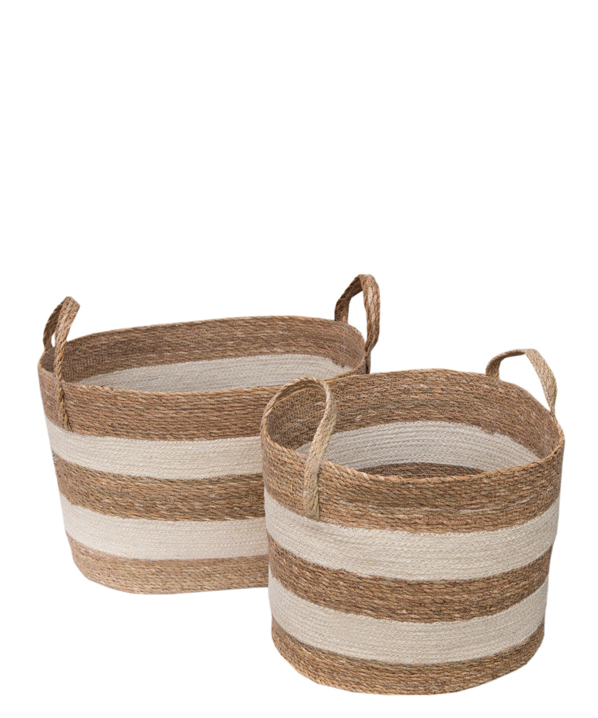 Striped Woven Jute Basket, White