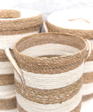 Striped Woven Jute Hamper, White