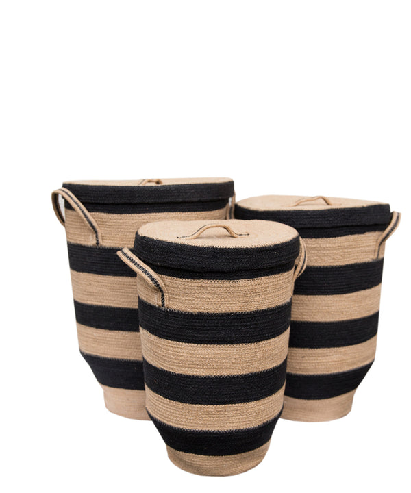 Striped Woven Jute Hamper, Black