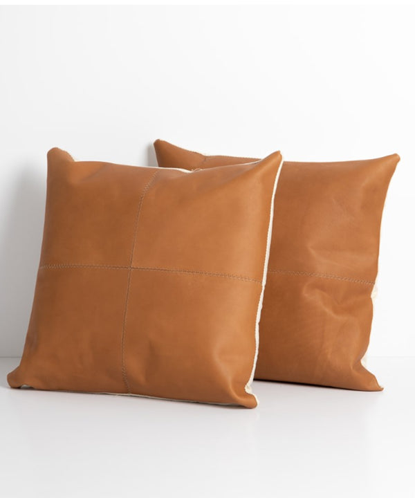 "Leather Throw Pillow, 20"" square"