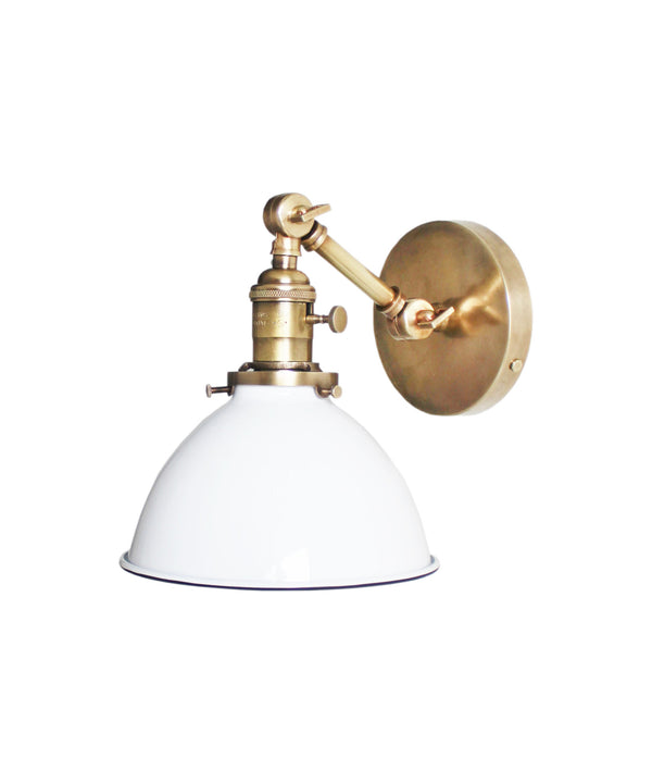 Jefferson Single Short Arm Wall Sconce with White Enamel Shade, Antique Brass