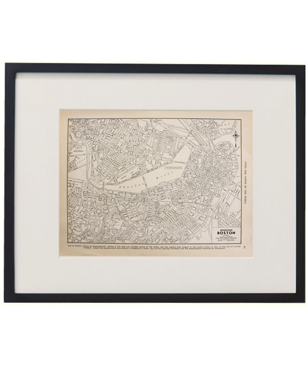Vintage Framed City Map, Boston