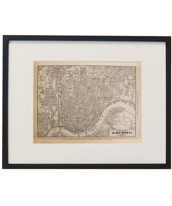 Vintage Framed City Map, Cincinnati
