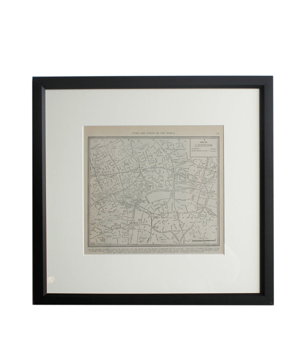 Vintage Framed City Map, London