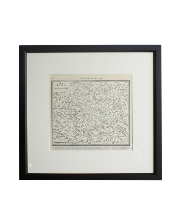Vintage Framed City Map, Paris